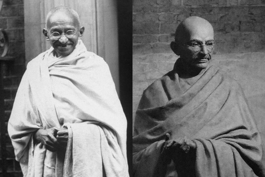 Gandhi real and statue